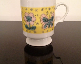 Vintage Butterfly/Flower Pedestal Mug Made in Japan