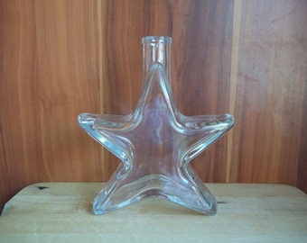 etched glass bottle engraved star shape 200 ml 0,2l 7 fl oz personalized name initial letters etched bottle