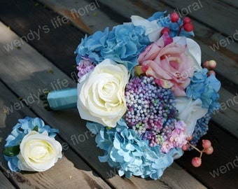 Wedding Bouquet Artificial Bouquet Wedding Flowers Real Touch Flowers blue pink rose, hydrangea
