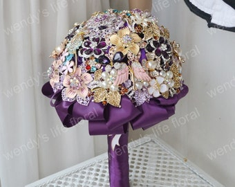 wedding brooch bouquet vintage purple