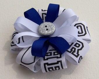 Blue & White Cheer Round Hair Bow