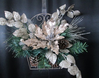 WAS 39.00 NOW 29.00 Christmas decoration,xmas decor,pinecone floral decoration,silver poinsetta decor,door decoration,table centerpiece