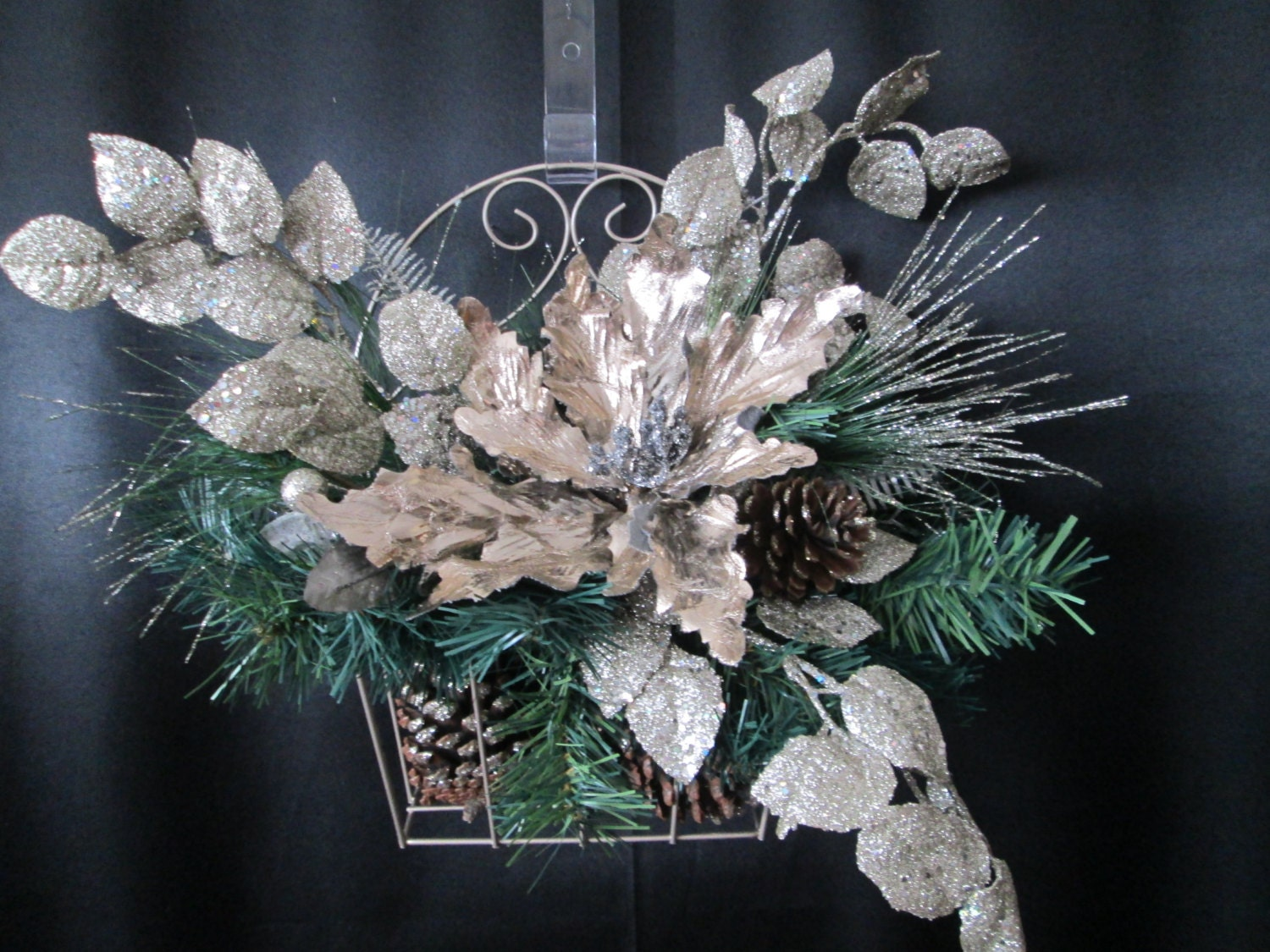 WAS 39.00 NOW 29.00 Christmas decoration,xmas decor,pinecone floral decoration,silver poinsetta decor,door decoration,table centerpiece