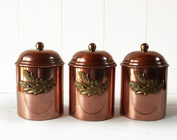 Set Of 3 French Copper Canisters