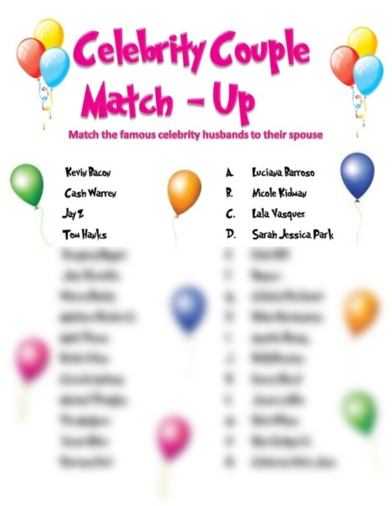 FREE Famous Couples Bridal Shower Game - up to 40% Off MSRP