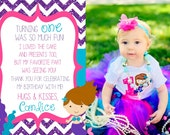 Chevron Girly Mermaid Birthday Thank You Cards - DIY DIGITAL DOWNLOAD