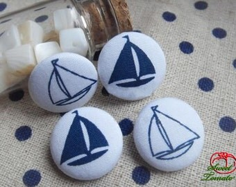 4pcs 18mm Fabric Button Set - Blue and White Sailboat (ST193FB)