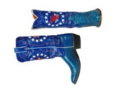 Vintage Justin Boots Bicentennial 1776 Inlaid Boots Cowboy Boots Iconic Americana Blue