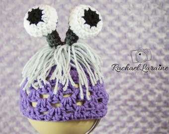 Monsters Inc boo disguise Inspired hatCrochet Baby Toddler Child Teen Adult purple  beanie photo prop costume Halloween