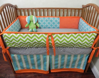 Fancy Custom Baby Bedding Set Reagan Lime Green Chevron with Aqua and Orange