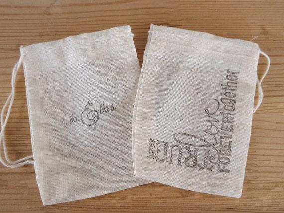 Wedding Favor Muslin Bags : Wedding Favor Bags- Muslin- Hand Stamped Favor Bags- Wedding Favors ...