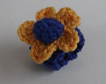 Cotton Crochet Flower Ring, Yellow Blue
