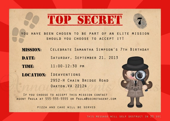 Top Items similar to 5x7 Secret Agent/Spy/Detective Birthday  BZ37
