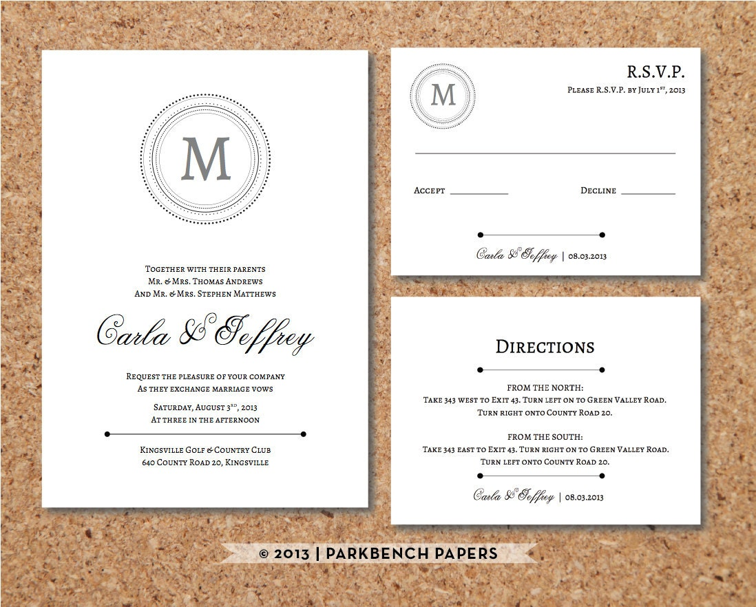 Rsvp To Wedding Invitation Wording: Editable Wedding Invitation RSVP Card And By
