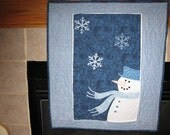 Christmas Quilted Unique Appliqued Wall Hanging with Snowman, Snowmen Snowflakes Gift