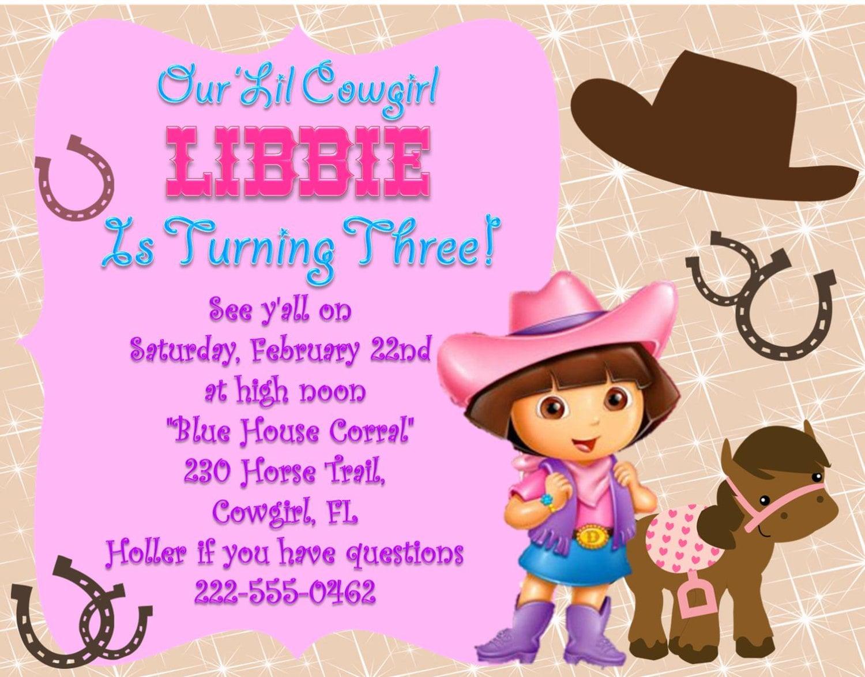 Dora Birthday Party Invitations ~ Image Inspiration of Cake and ...