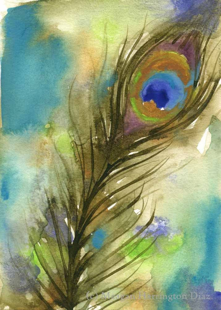 Original watercolor painting peacock feather 5x7 bird for Painting feathers on canvas