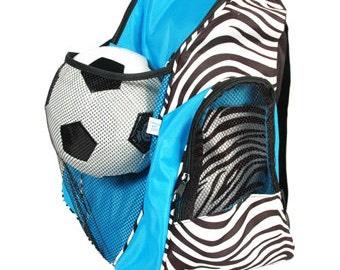 Turquoise and Black Zebra Athletic Sports Backpack Dance Bag Gym Bag Overnight Bag School Backpack
