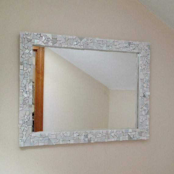 Mosaic white wall mirror decorative bathroom or by for White framed mirrors for sale