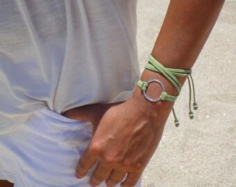 BOHO Medium Silver Infinity Circle Double Wrap Suede Bracelet / Necklace