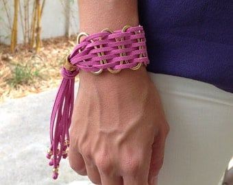 Suede Bracelet with Silver or Gold Rings, Adjustable - Available in 10 Different Colors