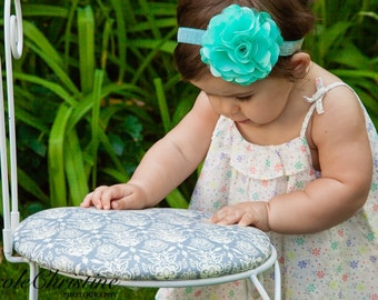 Mint Green Satin Mesh Flower Headband, Newborn Headband, Baby Headband, Toddler Headband,  Photo Prop