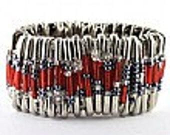 Red Safety Pin Bracelet