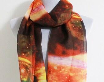 Red Galaxy Scarf Soft scarf with galaxy print Silky Scarf with Galaxy Pattern