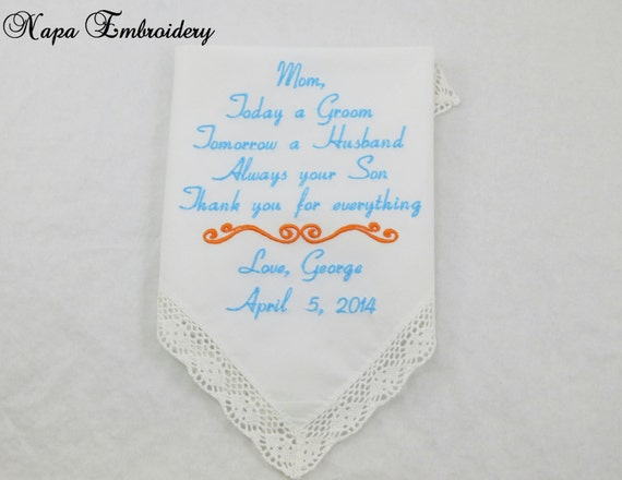 Wedding gifts for mom of the groom embroidered by