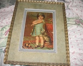 Advertising Framed with Girl and Kitten, Shoe Company Ad, Hawk Co., cat, Vintage frame