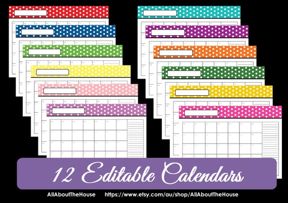 EDITABLE 12 polka dot calendars - You Choose - 2015, 2016 and beyond ...