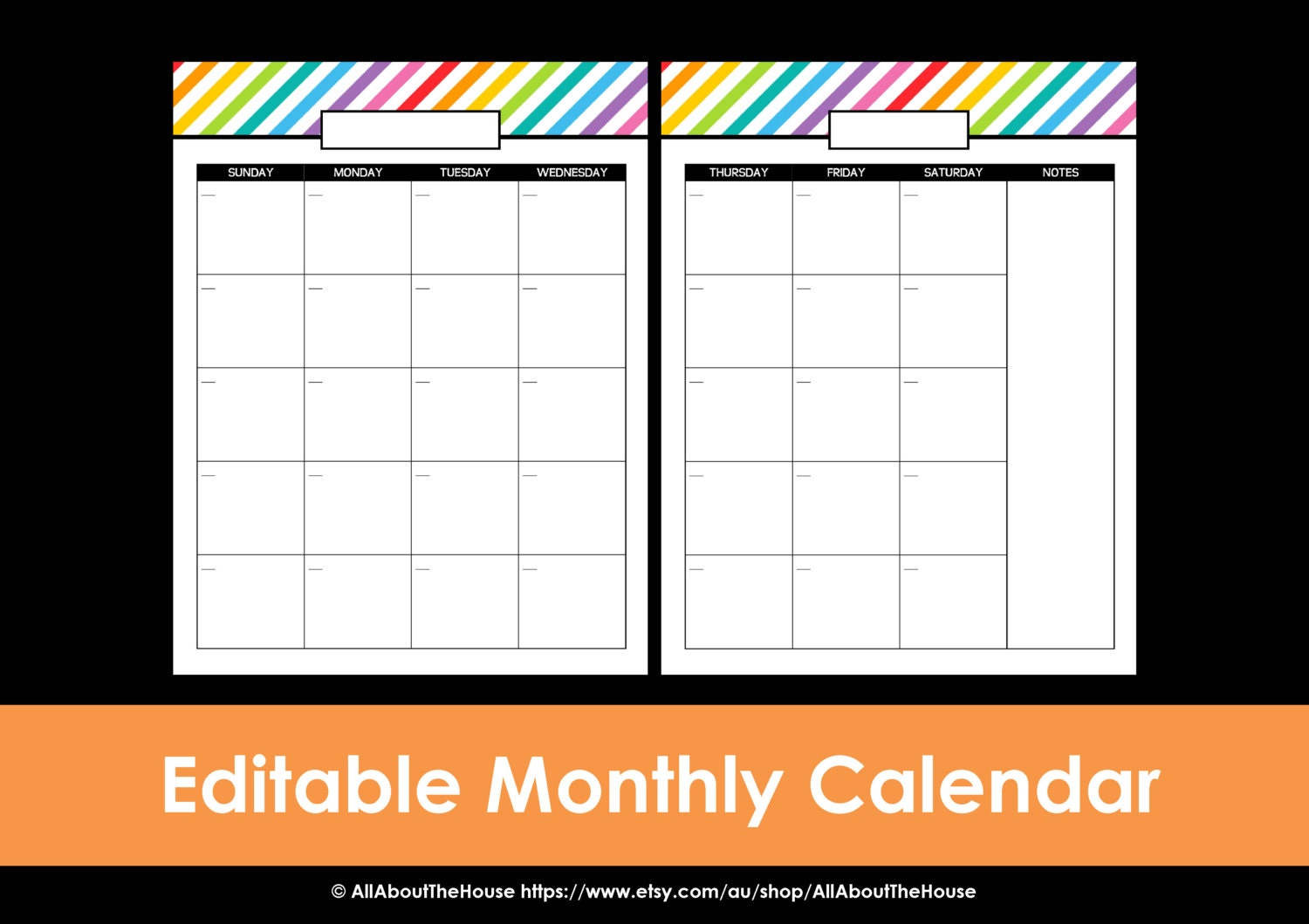 Printable Calendar 2 page monthly calendar printable rainbow