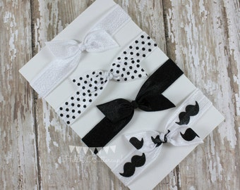 4 No Tug Elastic Hair Ties - Black and White Mustache Hair Tie Set