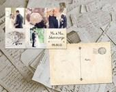 "50 Wedding Thank You Card - Lourdes Vintage Photo Personalized 4""x6"""