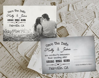 "Wedding Save The Date Cards - GrayVille Vintage Photo Personalized 4""x6"""