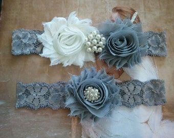 Wedding Garter, Bridal Garter, Garter - Ivory/Silver Flowers on a Stretch Grey Lace with Pearls & Rhinestones - Style G20090