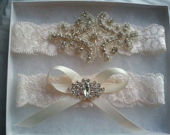 SALE - Shop Best Seller - Bridal Garter Set - Crystal Rhinestone on a IVORY Lace - Style G20470