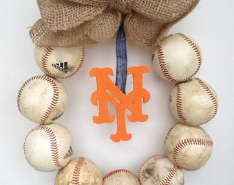 New York Mets Burlap Baseball Wreath