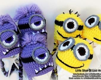 Purple Minion or Yellow Minion INSPIRED double threaded crochet hats