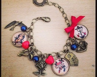 Sailor Jerry Tattoo charm bracelet. Red & Navy. Handmade, Unique.