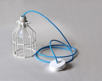 Industrial Lighting, wire Cage, Turqouise cloth cord
