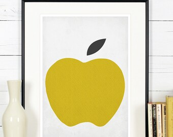 Fruit retro poster, kitchen art, apple, minimalist design, kitchen picture, art print, vintage poster, wall hanging, Scandinavian, A4, 8x10