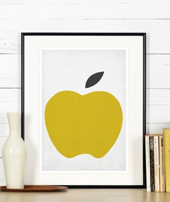 Obst retro poster kuche kunst apple minimalistisches for Poster küche
