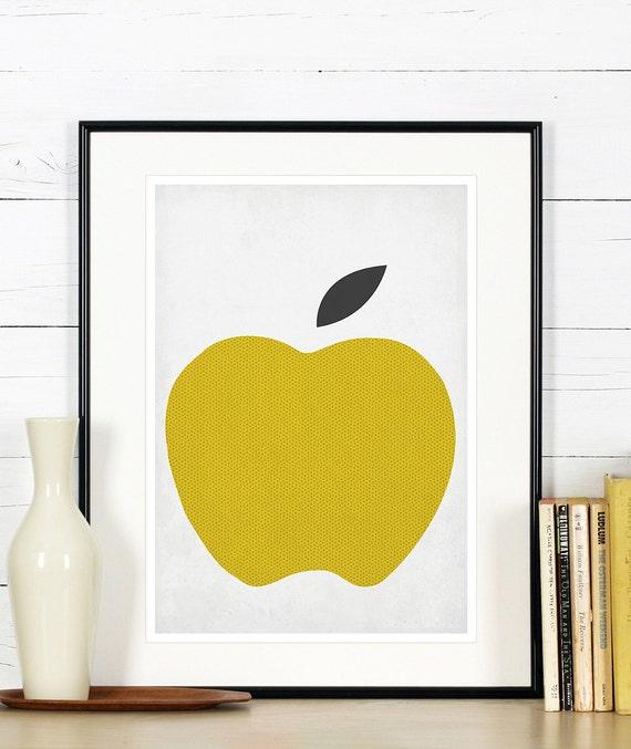 obst retro poster k che kunst apple minimalistisches. Black Bedroom Furniture Sets. Home Design Ideas