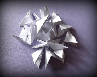 400 White 3D Origami Triangles/ Paper Pieces