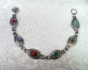 Vintage SIGNED SARAH COVENTRY multi colored stone bracelet - silvertone - Gorgeous - 7 1/2 inches
