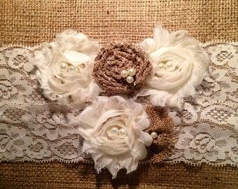 Wedding Garter, Rustic Wedding, Rustic Wedding Garters, Garter, Garters, fall wedding garter, ivory garter, burlap garter, lace garter