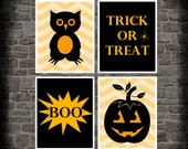 Halloween Prints. Halloween Decorations. Set of 4 8x10 Halloween Wall Prints. Etsykids Team. Halloween Pumpkin Owl - KryderPrints