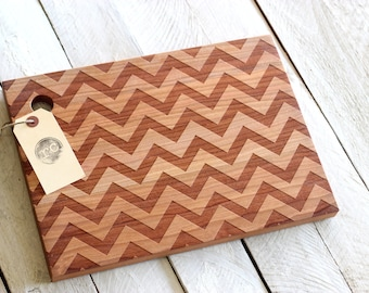 Solid Wood Cutting Board - Modern Chevron Pattern