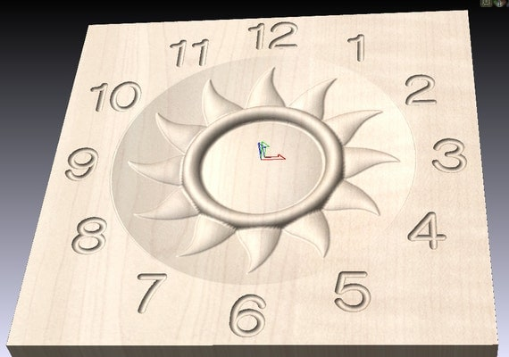 Sun clock wood carving pattern deep relief g code for cnc